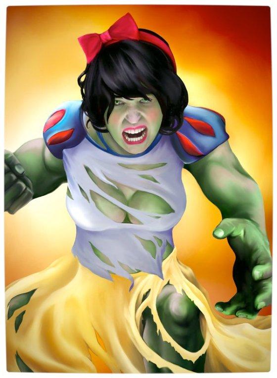 Vamers - Artistry - Disney Princesses Imagined as The Avengers - Snow White as The Hulk