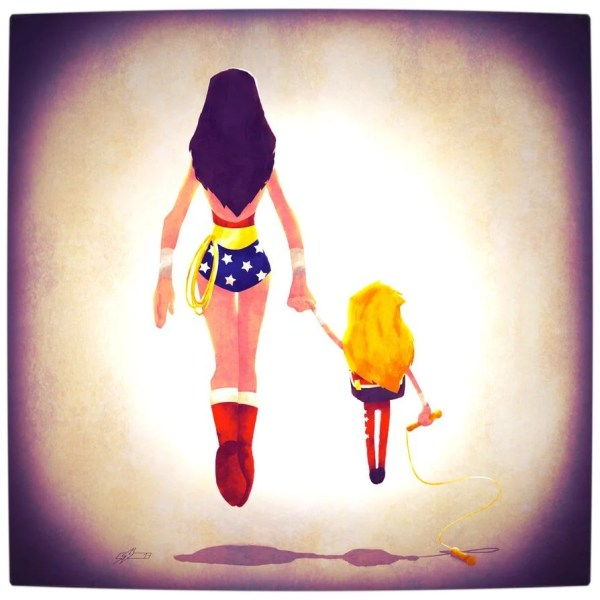 Vamers - Atristry - Marvel and DC Superheroes Walk Their Children to School - Art by Andry Rajoelina - DC - Wonder Woman