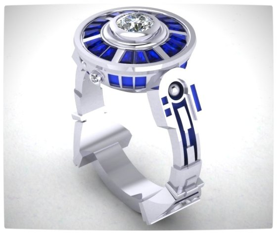 Vamers - Geek Chic - SUATMM - 10 Gorgeously Geektastic Engagement Rings - The R2D2 Ring
