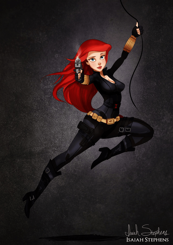 Vamers - Artistry - Disney Princesses Dress as Popular Geek Culture Icons for Halloween by Isaiah Stephens - Ariel as Black Widow