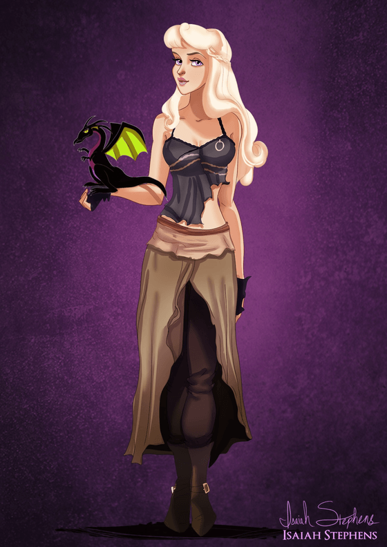 Vamers - Artistry - Disney Princesses Dress as Popular Geek Culture Icons for Halloween by Isaiah Stephens - Aurora as Daenerys Targaryen