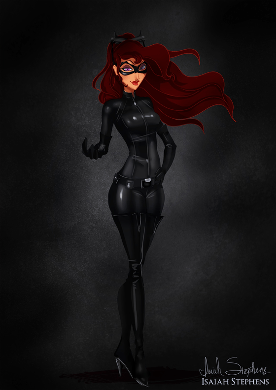 Vamers - Artistry - Disney Princesses Dress as Popular Geek Culture Icons for Halloween by Isaiah Stephens - Megara as Cat Woman