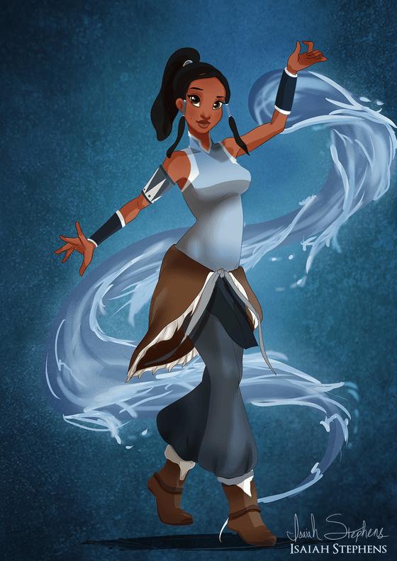 Vamers - Artistry - Disney Princesses Dress as Popular Geek Culture Icons for Halloween by Isaiah Stephens - Tiana as Avatar Korra