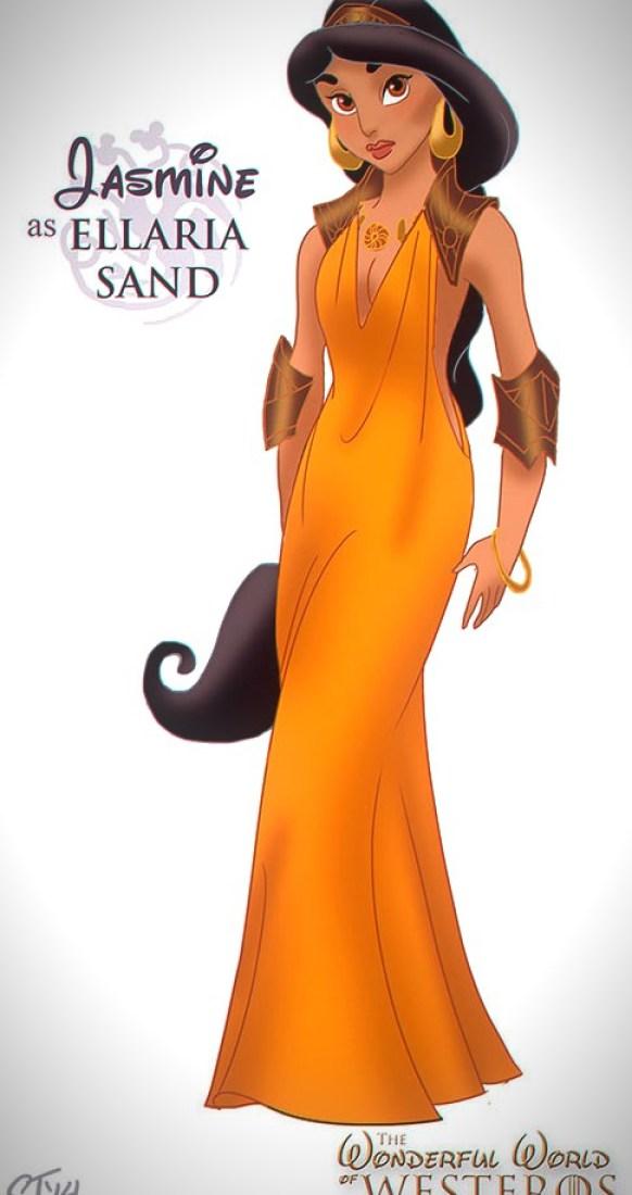 Vamers - Artistry - The Wonderful World of Westeros Imagines Disney Princesses as Game of Thrones Characters - Art by DjeDjehuti - Jasmine as Ellaria Sand