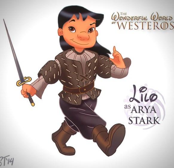 Vamers - Artistry - The Wonderful World of Westeros Imagines Disney Princesses as Game of Thrones Characters - Art by DjeDjehuti - Lilo as Arya Stark