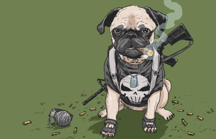 Vamers - Artistry - Fandom - Artist Josh Lynch Imagines Dogs as Superheroes from the Marvel Universe - Punisher