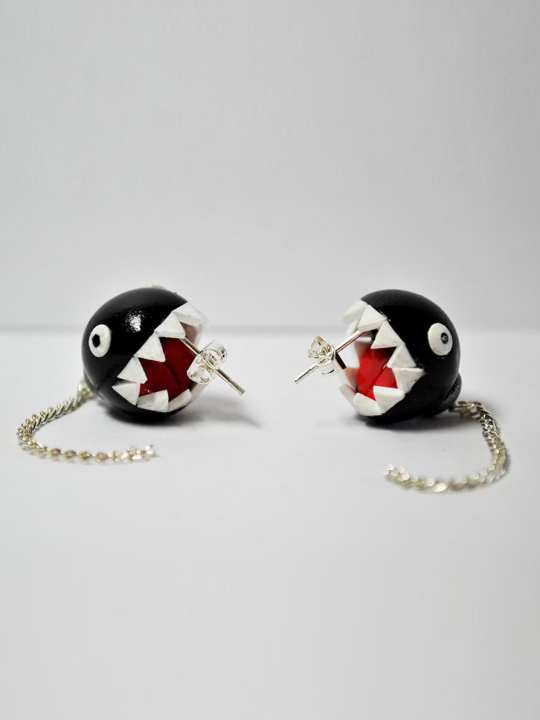 Vamers Store - Merchandise - Jewellery - Earrings - Exclusive Nintendo Super Mario Chain Chomp inspired Earrings 01