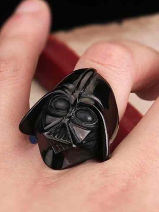 Vamers Store - Jewellery - Star Wars - Stainless Steel Darth Vader Ring - Black on Hand