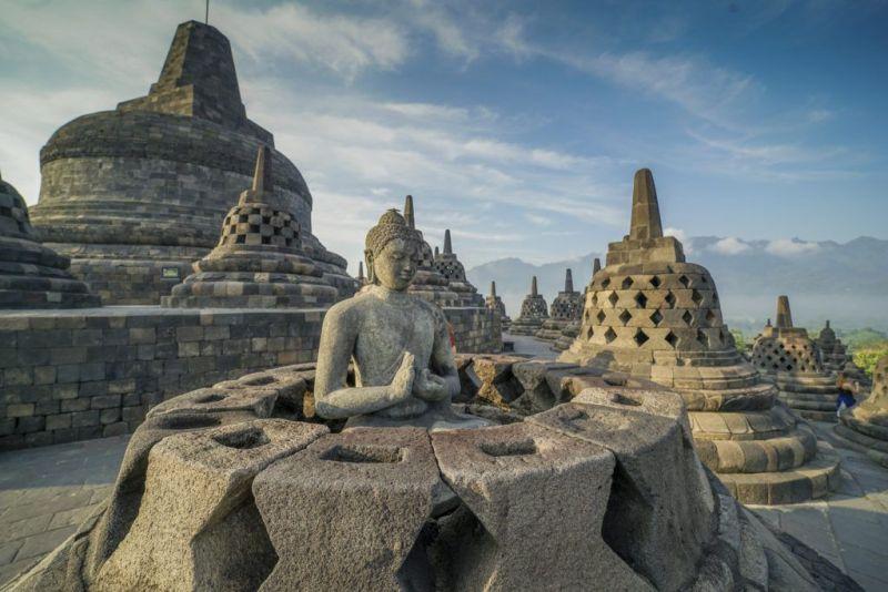 Borobudur, o maior templo budista do mundo.