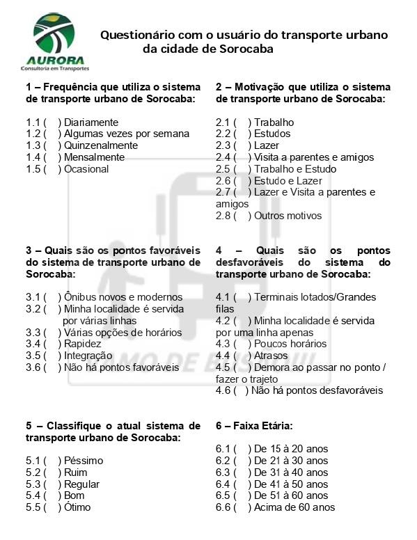 Questionario com o usuario do transporte urbano 2011 - Qualidade do transporte público – Perfil do usuário e avaliação do transporte urbano