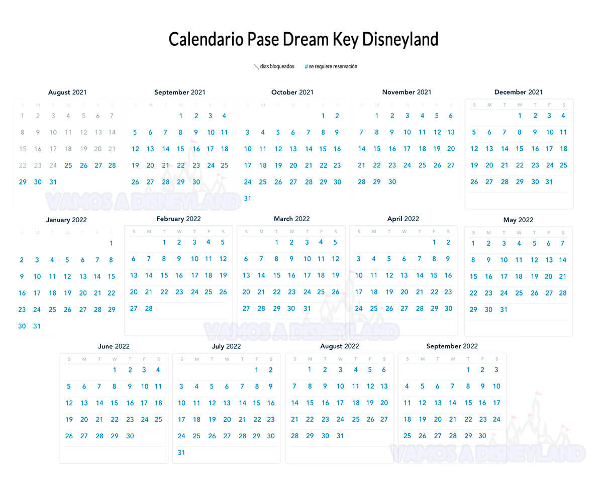 Calendario Dream Key Disneyland Pase Anual Disney California