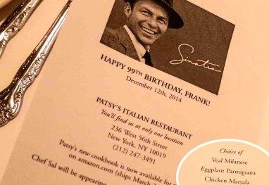 Menu Frank Sinatra no restaurante Patsy, em Nova York
