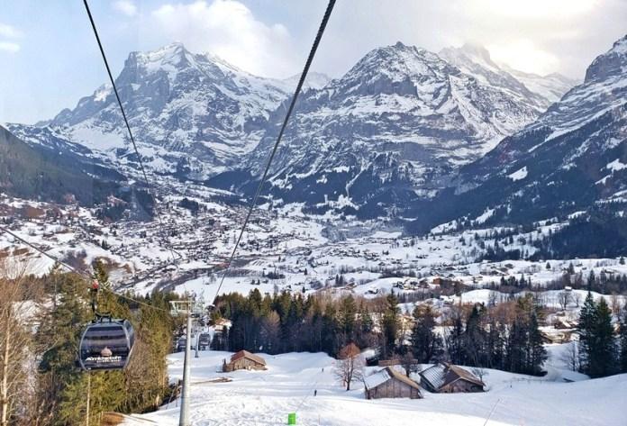 Grindewald na Suíça, Grindewald nos Alpes Suíços, inverno na europa