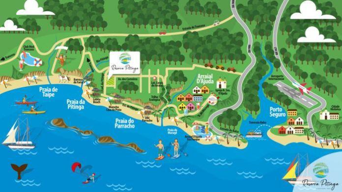 Mapa de Arraial D'Ajuda, mapa de arraial dajuda, mapa de arraial bahia, praias de arraial da juda