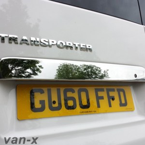 Stainless Steel Number Plate Trim for Barndoor VW T5 Transporter-0
