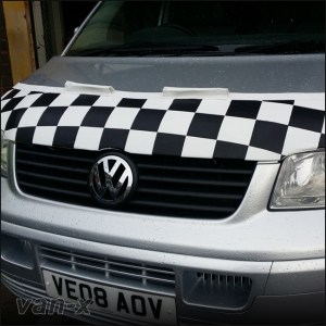 Half Bonnet Bra / Cover White Chequered with Wind Deflectors for VW Transporter T5-0