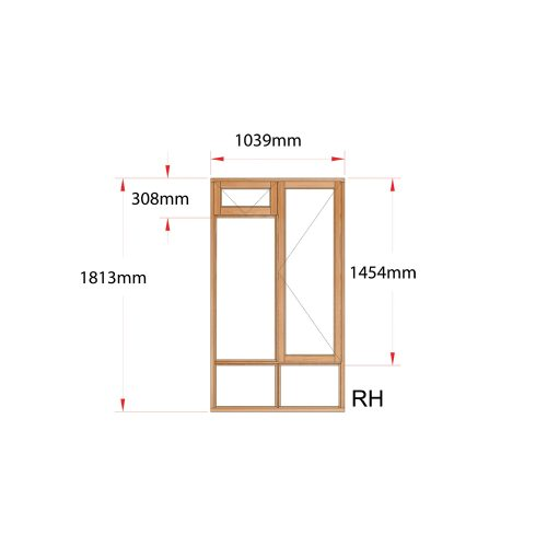Van Acht Wood Fanlight Windows Full Pane Product MA2FS RH