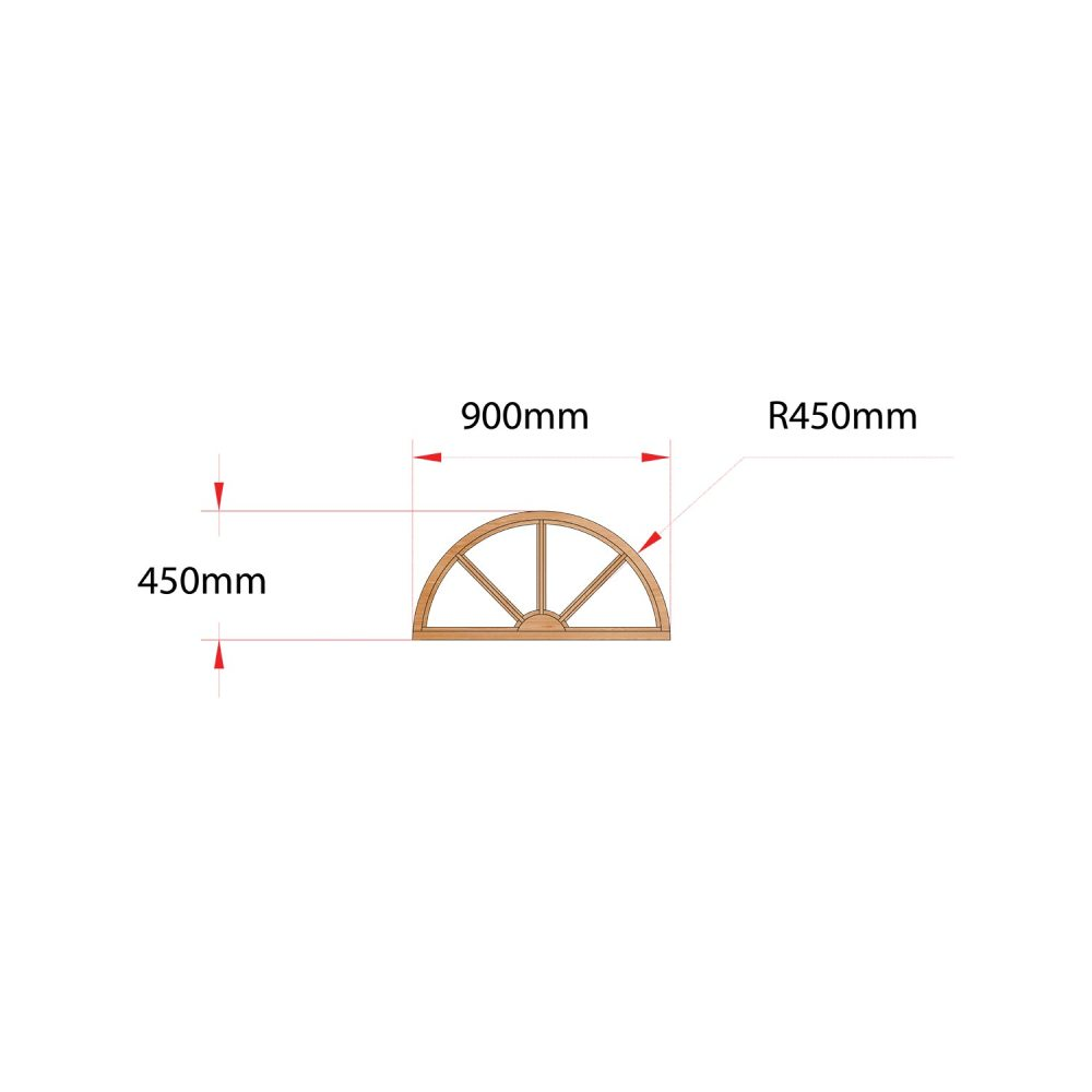 Van Acht Wood Fixed Arches for Windows Product H900 SUNRAY