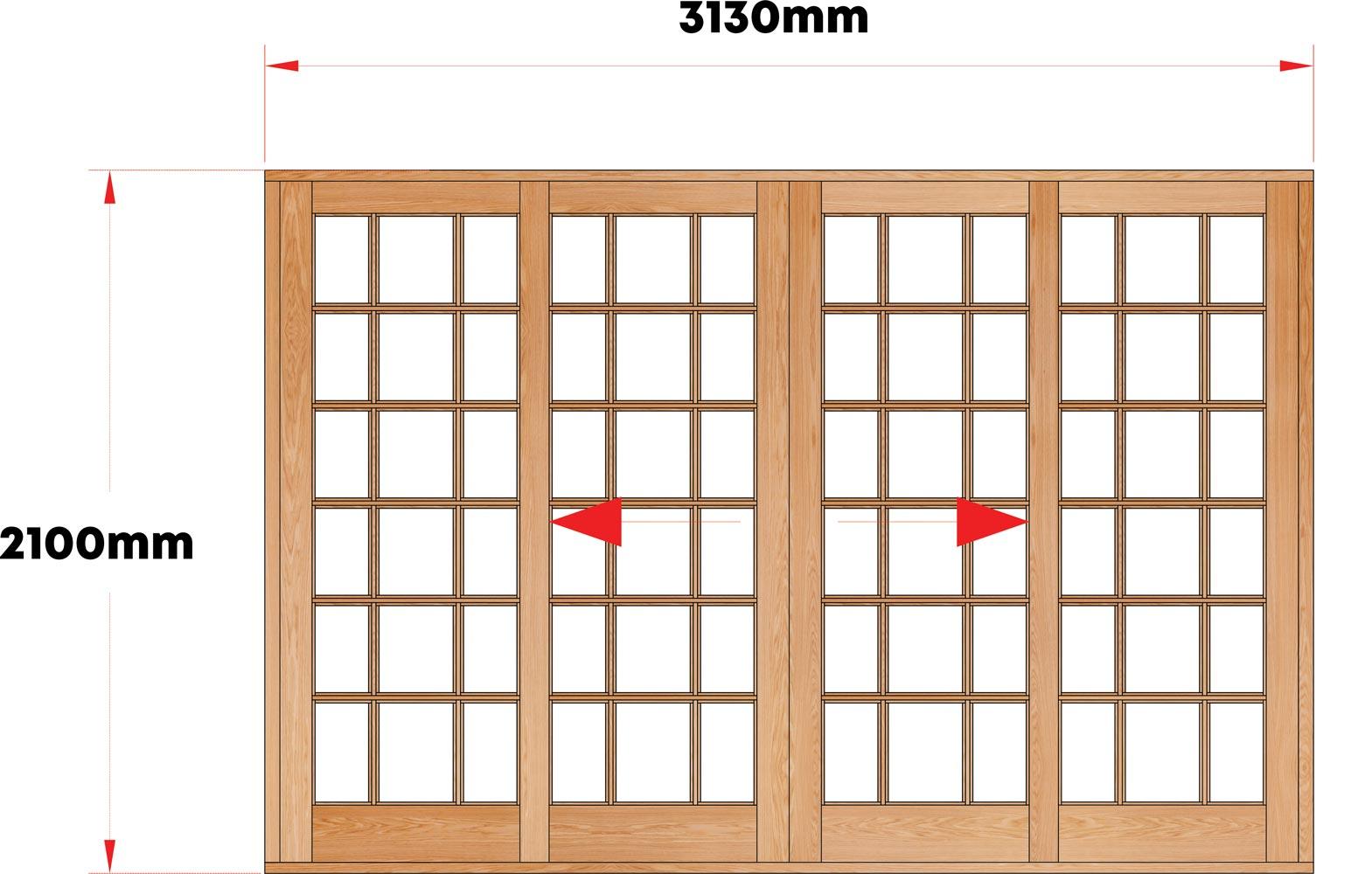 Van Acht Wood Sliding Doors Small Pane Model VSD3.1SPCO