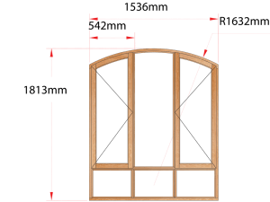 Van Acht Wood Windows Flat Arched Model AHA3S
