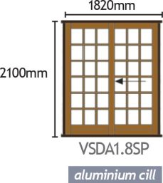 Van Acht Wood Sliding Doors Small Pane VSDA1.8SP