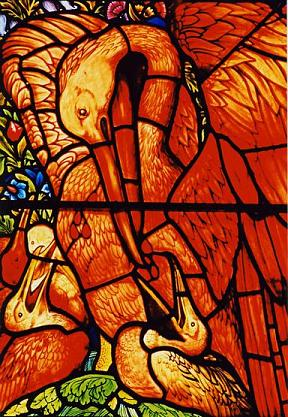 Pelikaan in raam van de St. Martin's Church in Brampton