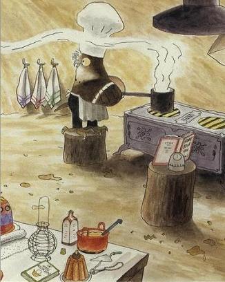 Uil kookt, uit: Vos en Haas op zoek naar koek