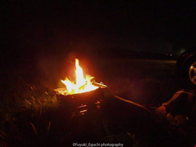 尾上フォールディングBBQコンロで焚火 (OLYMPUS TG-3)
