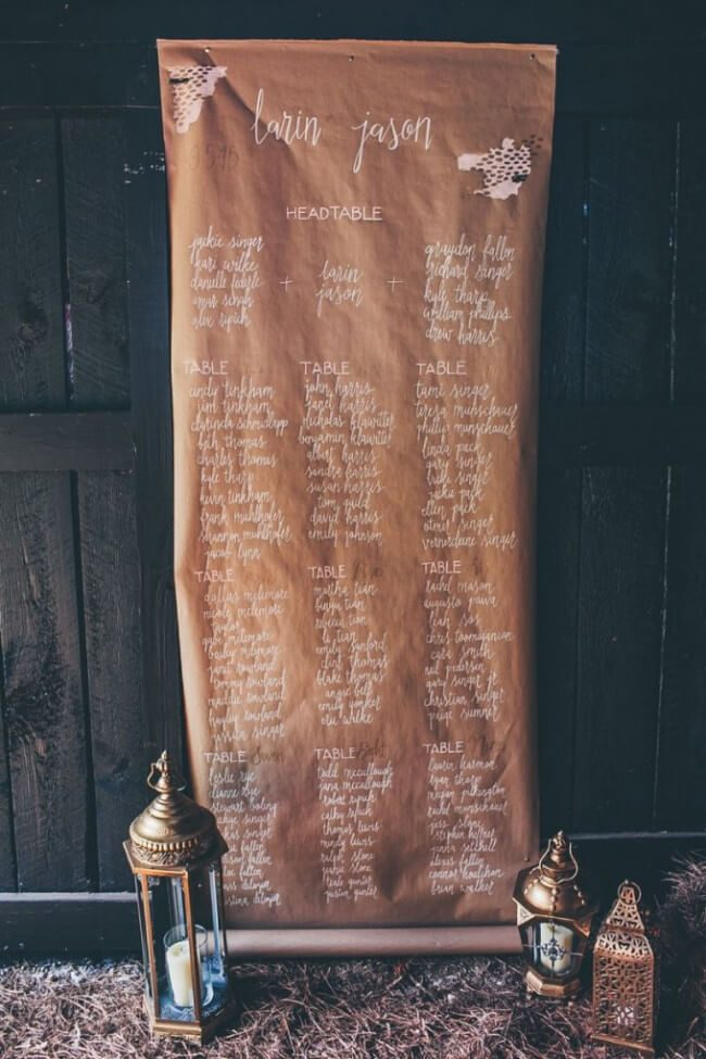 wedding table seating chart ideas