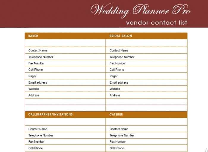 printable wedding guest list template