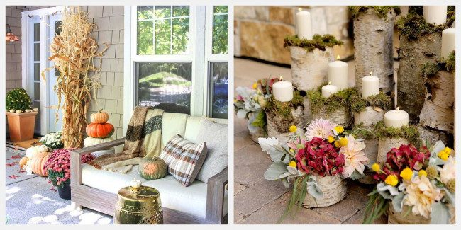 fall porch decor mums