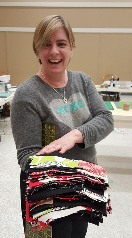 Tabitha pieced a stack of blocks at our last sew-in!