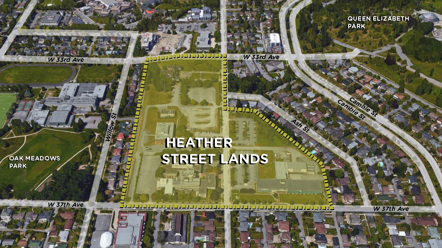 A map outlining the Heather Street Lands