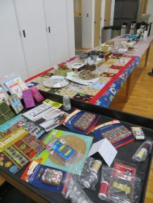 Door prizes and treat table