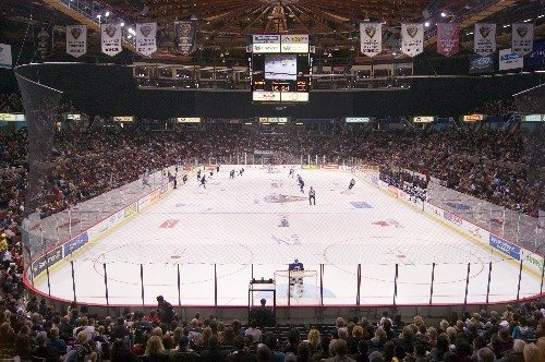 Vancouver Giants playing ice hockey at the Pacific Coliseum in Vancouver