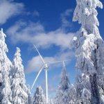 Grouse Mountain's Eye of the Wind Turbine in winter