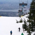 Grouse Mountain ski hill with view of Vancouver
