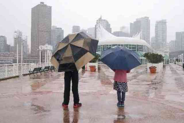 Kids with Umbrellas at Canada Place