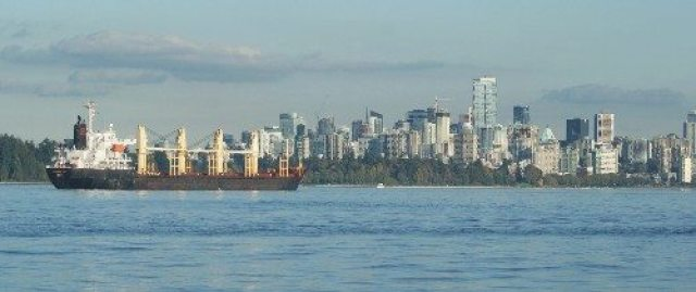 Vancouver Skyline and Ship