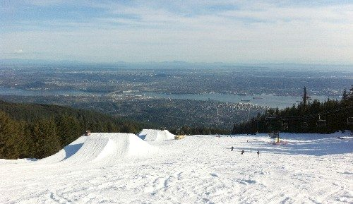 The Grouse Grind hiking trail at Grouse Mountain