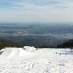 View of Vancouver from Grouse Mountain ski hill in the winter