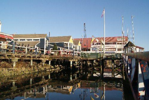 Steveston Village harbour and shops