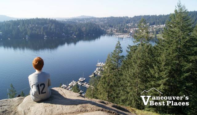 Looking down at Deep Cove from Quarry Rock