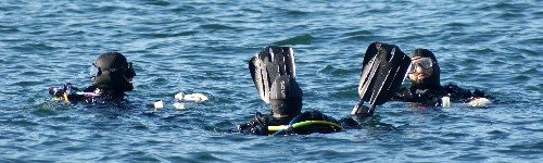 Three scuba divers at Whytecliff Park in West Vancouver