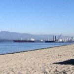 Sand and logs at Locarno Beach