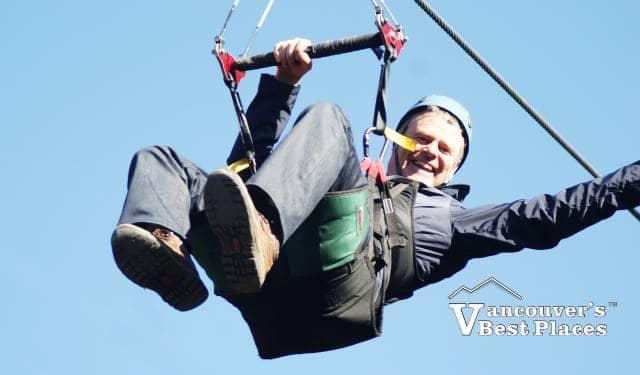 Boy Ziplining at Grouse Mountain