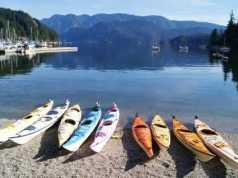 Row of Kayaks at Deep Cove