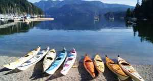Row of Kayaks at Deep Cove