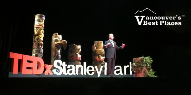 TEDxStanleyPark MC on Stage