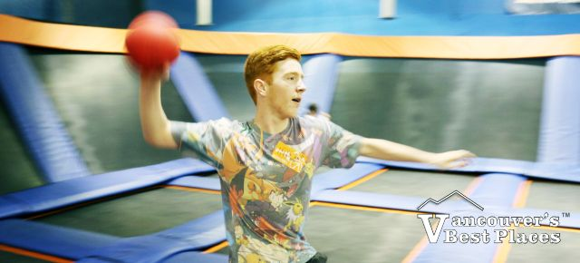 Boy at Sky Zone Dodgeball